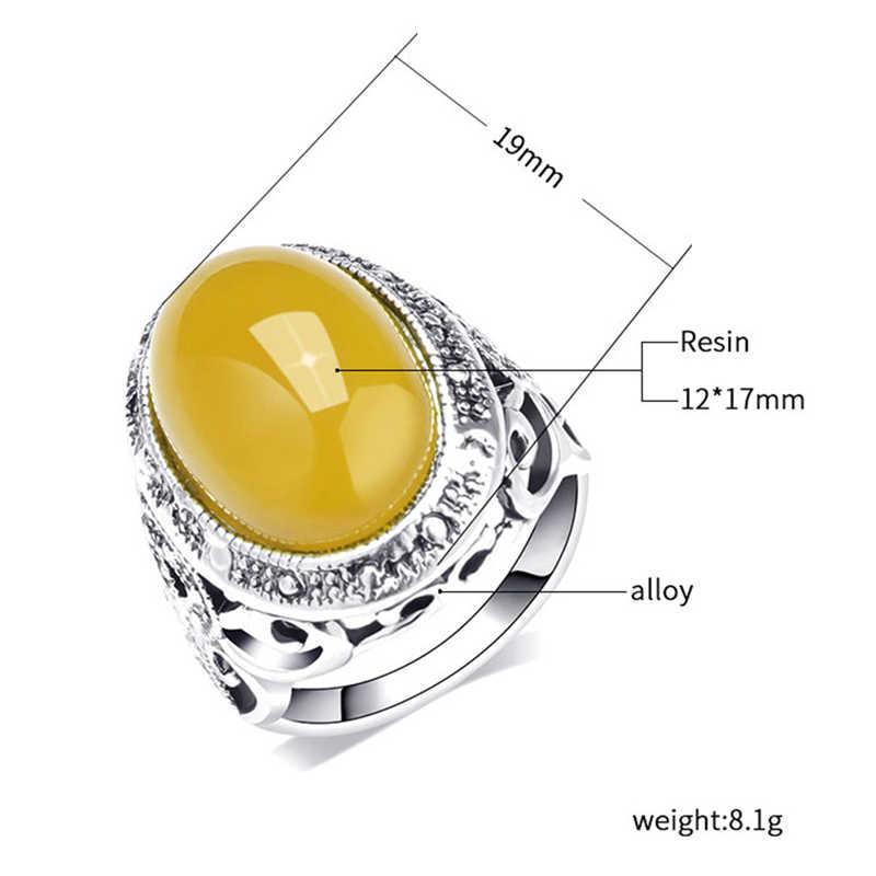 Wbmqda Vintage Big Stone แหวนทองโบราณคริสตัลแหวนเครื่องประดับ 2019 ใหม่