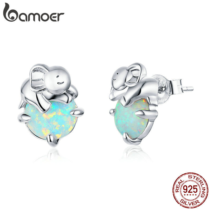 bamoer 925 Sterling Silver Elephant Opal Stud Earrings for Women Stone Ear Pins Original Design Accessories Fine Jewelry SCE895
