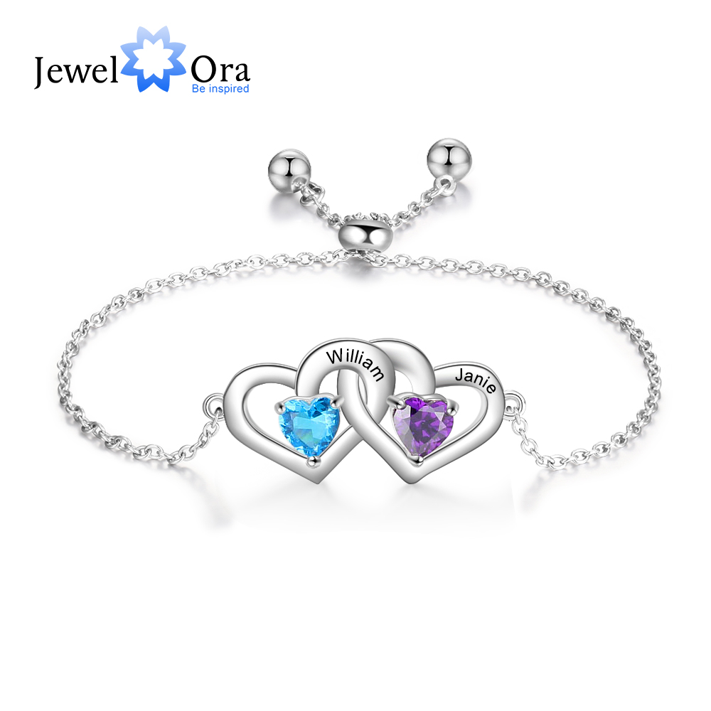Customized 2 Names Adjustable Couple Bracelet Personalized Heart Birthstone Engraved Bracelet for Women (JewelOra BA102580)