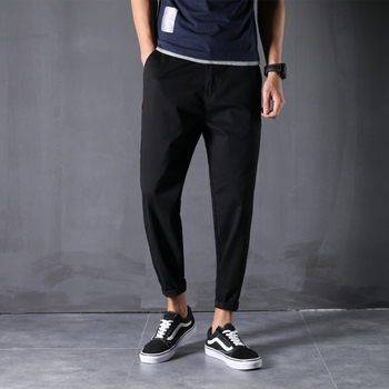 100% Cotton New Pants Man 28-48 Large Size Ankle-Length Harem Trousers Loose Comfortable Classic Causal Daily Clothes - 46, Black