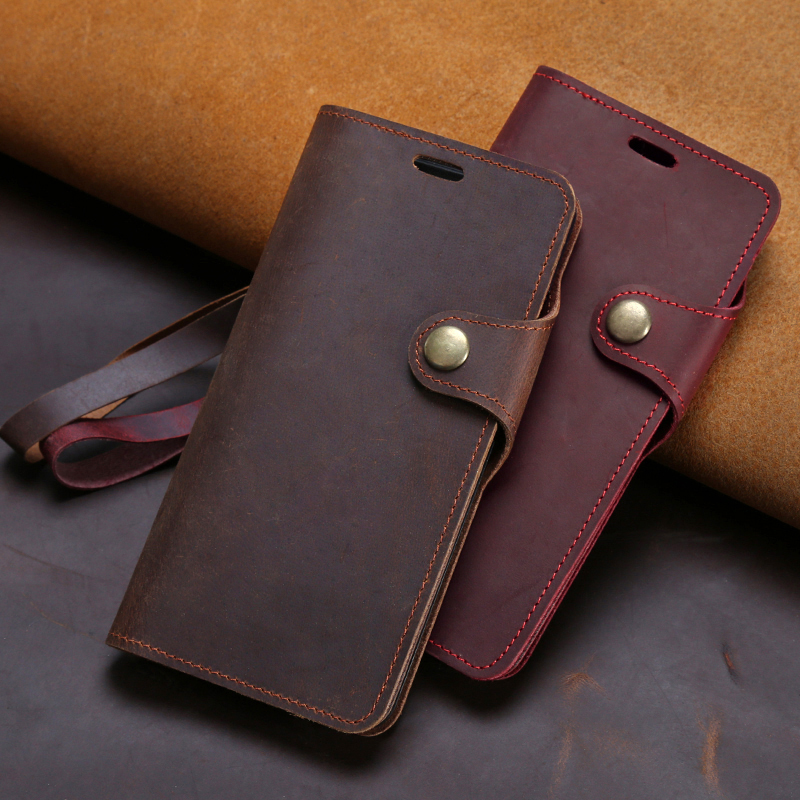 Genuine Leather Flip Phone <font><b>Case</b></font> For <font><b>Oneplus</b></font> 8 7 7T Pro <font><b>6</b></font> 6T 5 5T 3 3T Magnetic Buckle Cover Cowhide Crazy Horse Skin <font><b>Wallet</b></font> Bag image