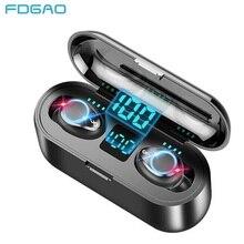 TWS Wireless Headphones 9D HiFI Stereo Bluetooth V5.0 Earphones LED Display 2000mAh Charging