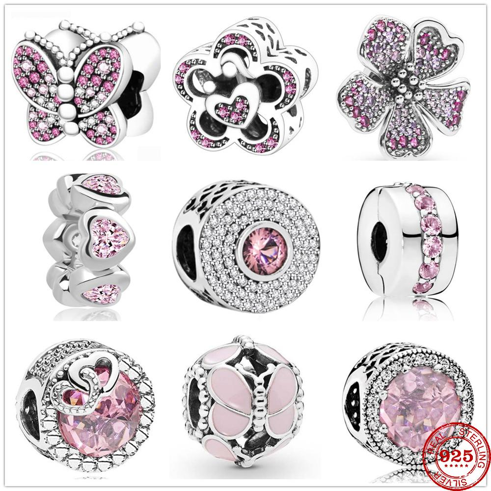 New 925 Sterling Silver Dazzling Pink Butterfly Heart Zirconia Beads Fit Original Charms Pandora Bracelet Bead Jewelry making