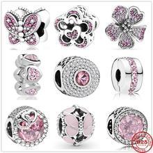 Новый 925 стерлингового серебра ярко-розового цвета с бабочками в форме сердца циркониевые Бусины Подходят оригинальный Пандора браслет из ...