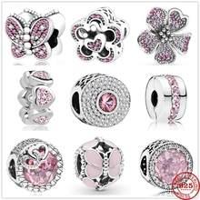 Breloques Pandora en argent Sterling 925, perles en zircone rose éblouissante en forme de cœur et de papillon, adaptées aux bracelets originaux, fabrication de bijoux, nouvelle collection