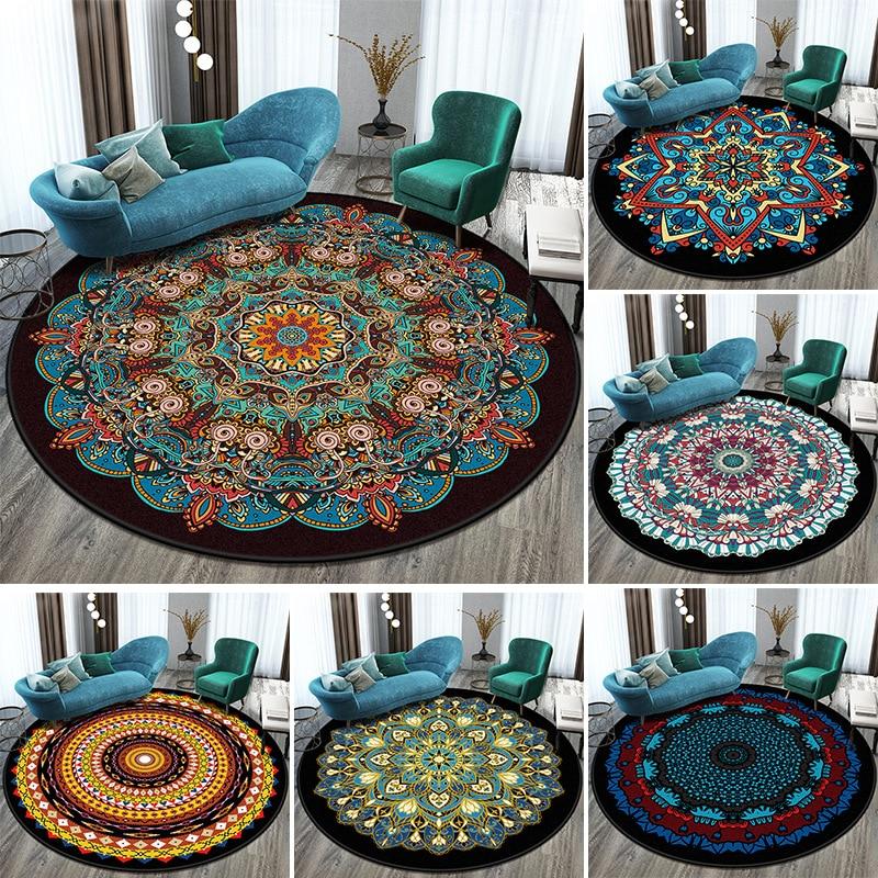Round Carpet 3D Printed Mandala Carpet Rug Bedroom Bedside Bathroom Computer Chair Antislip Mat Floor Mat Romantic Home Decor