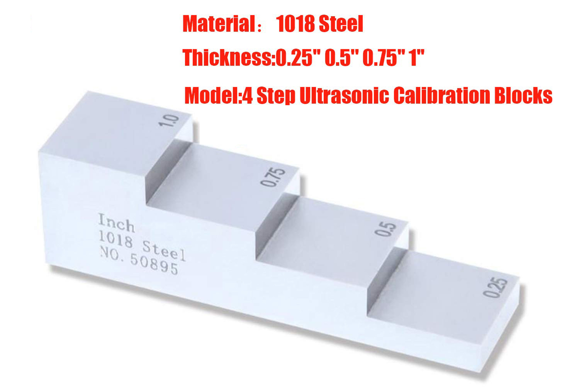 Ultrasonic Thickness Gauge 4 Step Calibration Block NDT Testing with 1018 Steel 0.25'' 0.5'' 0.75'' 1''