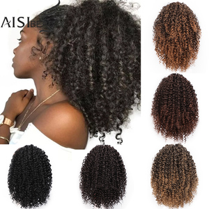 Image 1 - AISIBEAUTY Drawstring Puff Ponytail Afro Kinky Curly Hair Extension Synthetic Clip in Pony Tail  African American Hair Extension