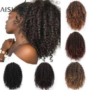AISIBEAUTY-Extensión de pelo rizado Afro, cola de caballo con cordón, Clip sintético...
