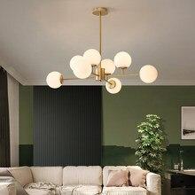 Nordic led lustre para sala de estar quarto jantar restaurante moderno lustre teto bola vidro loft villa luminária