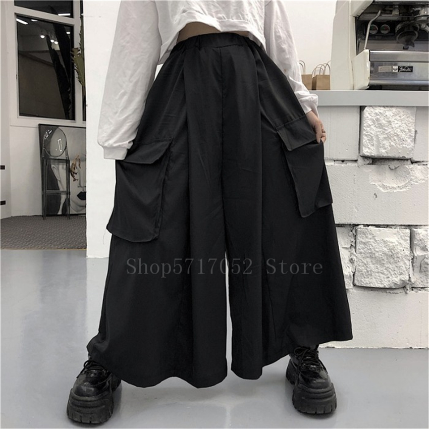 Japanese Wide Leg Pants Men Samurai Costume Streetwear Black Joggers Vintage Haori Plus Size Harem Trousers Hip Hop Clothes