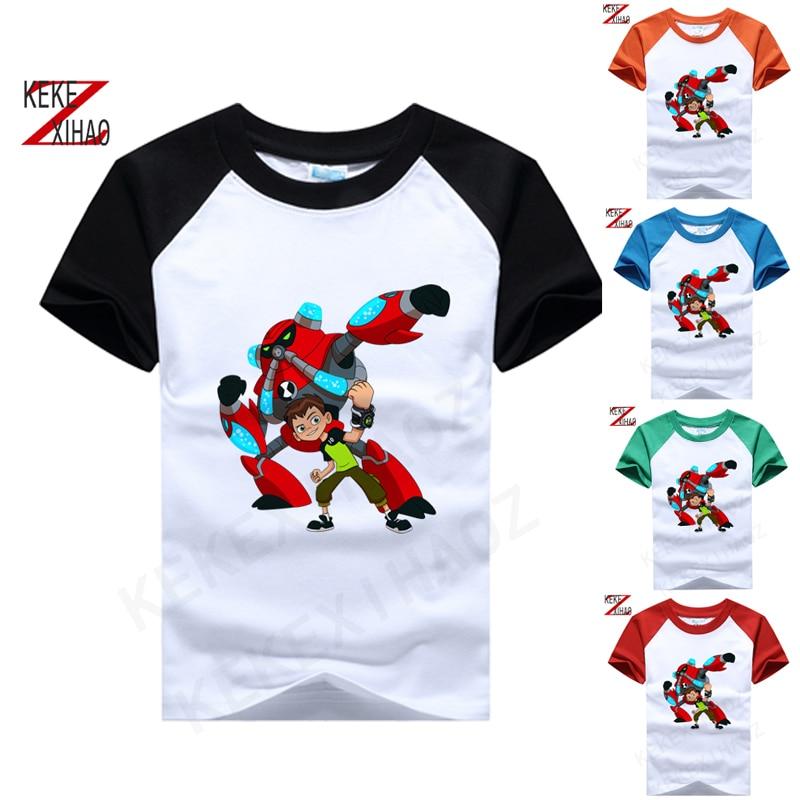 Printed Children T Shirt Cotton Tshirt 10 Ben Cartoon Overflow Alien O-Neck Short-Sleeve Children T-Shirt Fashion T-shirt 050210