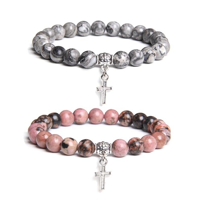 Carte naturelle Rhodochrosite 8mm pierre perle bracelet femme homme pierre argent couleur métal croix métal breloque bracelets pour femme
