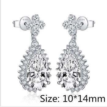 Sona NOT FAKE 10*14mm S925 Sterling Silver Pear cut style boutique  gift none allergic stud earrings luxury exquisite