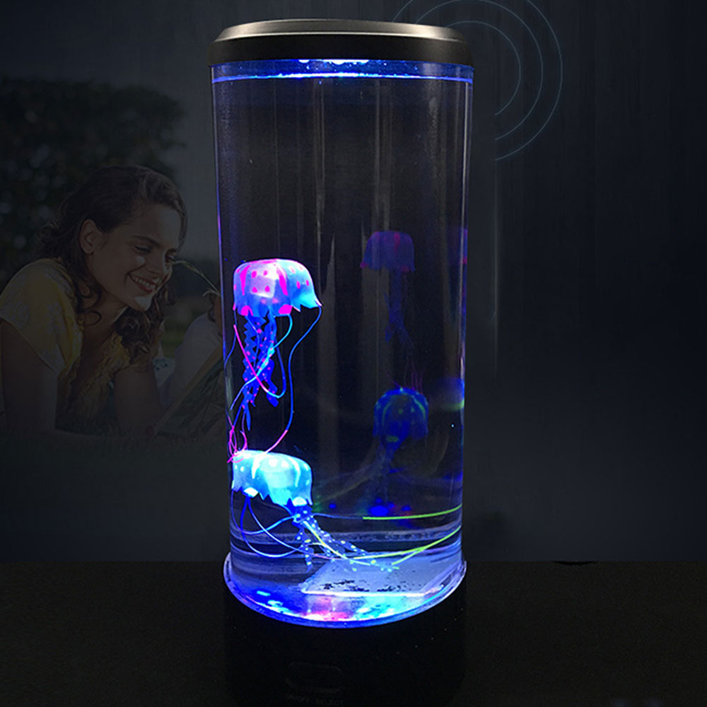 NEWKBO LED Tower Jellyfish Lamp Night Light Change Bedside Lamp USB Super Power Saving Aquarium Home Decoration Lamp