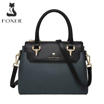 FOXER Top Handle Totes Women's Handbag Commute Crossbody Shoulder Bags Genuine Leather Fall Winter Purse Female Cross Body Bag