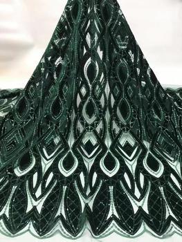 Tela de encaje africano 5yds/pce terciopelo lentejuelas bordado malla telas mujeres precioso nigeriano lagos fiesta asoebi vestido 2019 nuevo