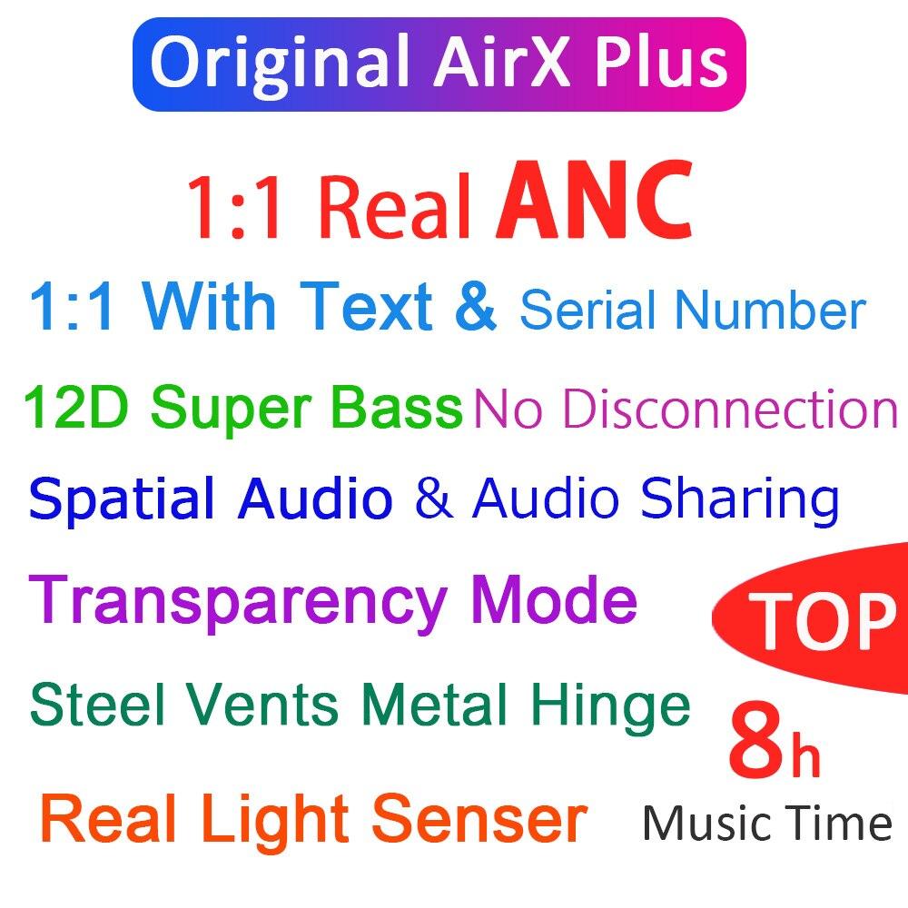 Airx original plus tws anc sem fio bluetooth fone de ouvido cancelamento de ruído ativo air3 super bass pk i90000 max i900000 tws