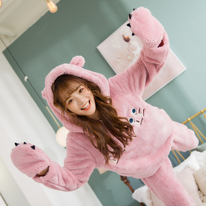 Image 3 - JULYS SONG Cute Winter Flannel Pajamas Set Womens Sleepwear Thick Plush Animal Cartoon Warm Girl Plus Velvet Hooded Homewear