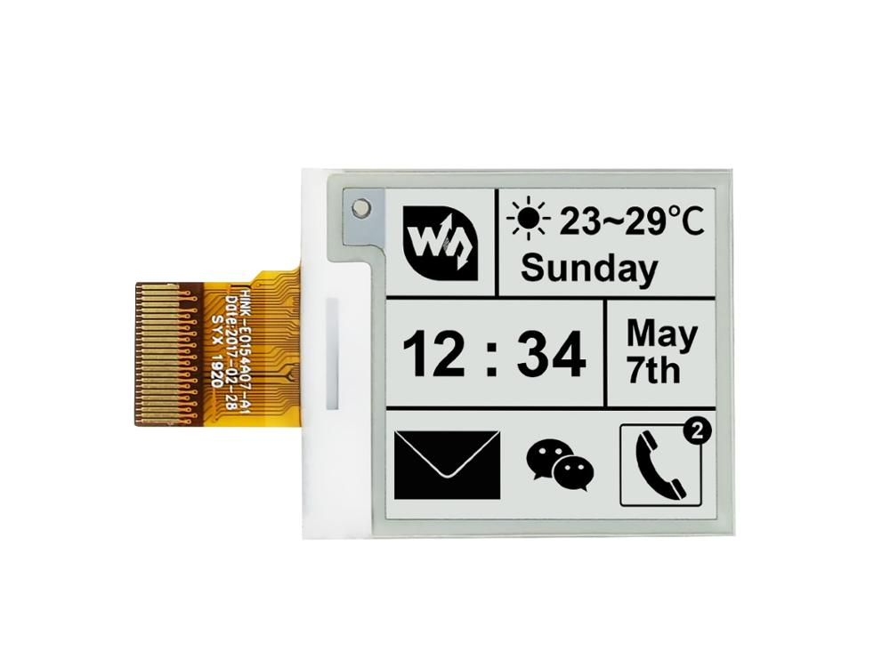Waveshare 200x200, 1.54inch E-Ink Raw Display Panel Without PCB Communicate Via SPI Interface Supports Various Controller Boards