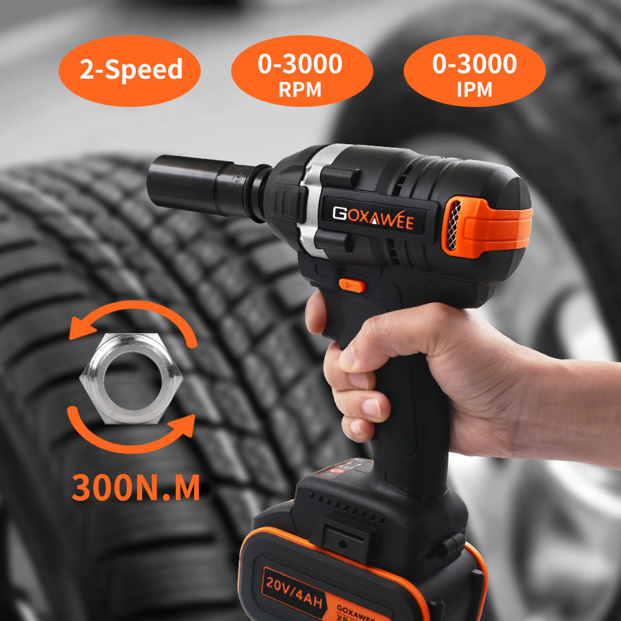 Image 5 - GOXAWEE 21V Cordless Electric Wrench Impact Driver Socket Wrench 4000mAh Lithium Battery Hand Drill Installation Power Tools-in Electric Wrenches from Tools on