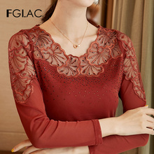 Женская блузка с длинным рукавом FGLAC, элегантная кружевная блузка с длинным рукавом, Весенняя рубашка размера плюсБлузки    АлиЭкспресс