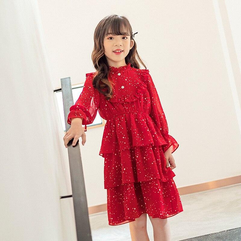 4 To 14 Years Girls Dress New 2020 Children Spring Dress Tiered Baby Princess Dress Toddler Chiffon Dress Kids Cute Dress,#5572