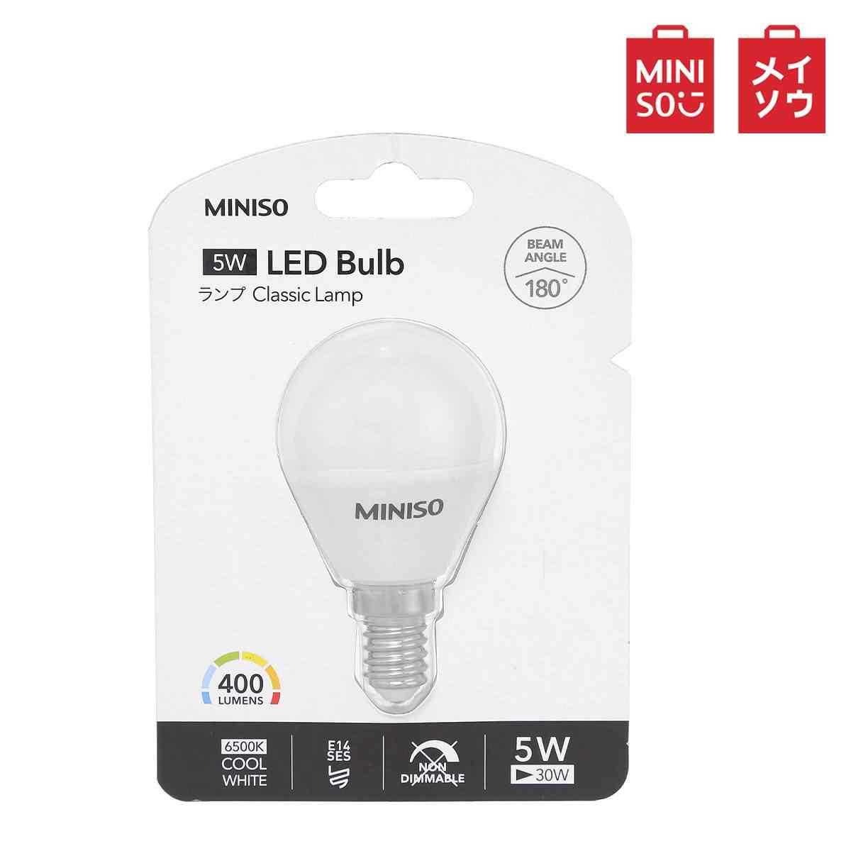Miniso LED E27/E14 Lampu LED 5W 7W Konsumsi Daya Rendah Keren Whit/Hangat cahaya