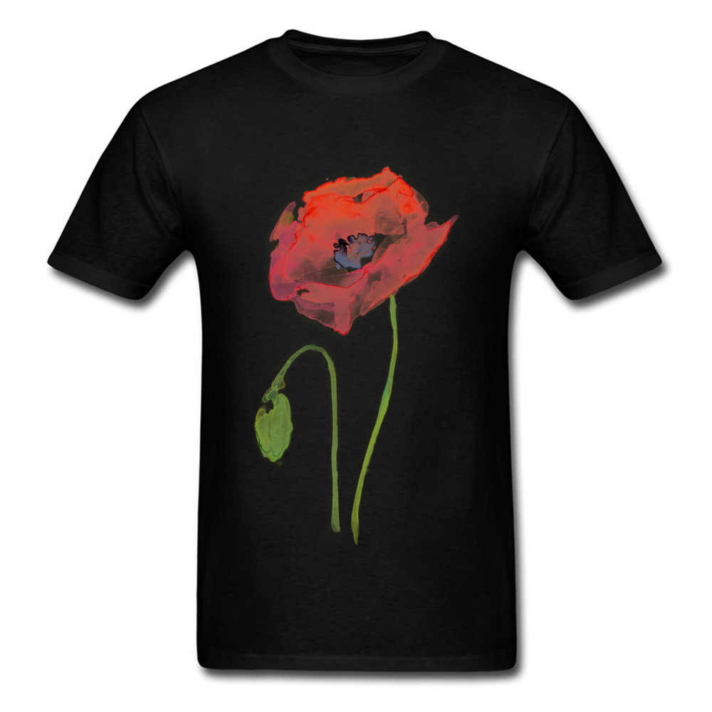 Print Fabric Mens Novelty Red Poppy Abstract Watercolor T-Shirts Comics Tops Shirt Classic Top Tee Round Neck Shirt 100% Cotton