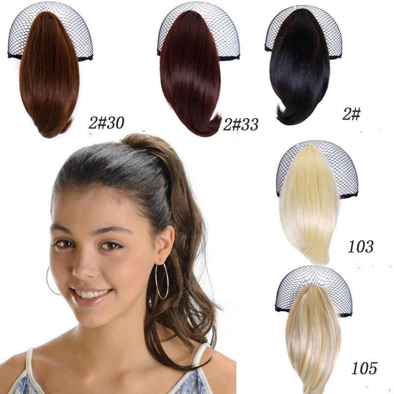 "SHORT 12"" Straight Ponytail Claw Drawstring Ponytail Synthetic Heat Resistant Clip In Hair Extensions"