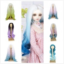 Hot sell!Doll Wigs Heat Resistant Wire Long Deep Curly White Pink Blue Color Hair for 1/3 BJD/SD Dolls doll wigs hair heat resistant synthetic wire long afro curly white pink green blue ombre color wigs for 1 3 1 4 1 6 bjd sd dolls