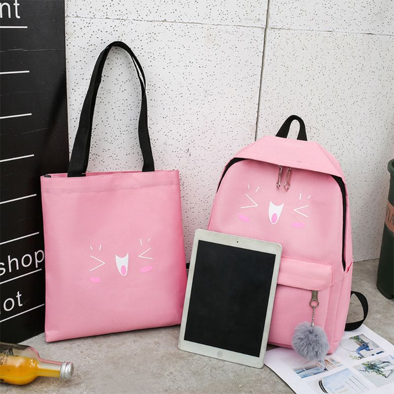 4pcs Cute Cat Print Canvas Backpack Daypack School Shoulder Bags Student Bookbag Set for Teenagers Girls