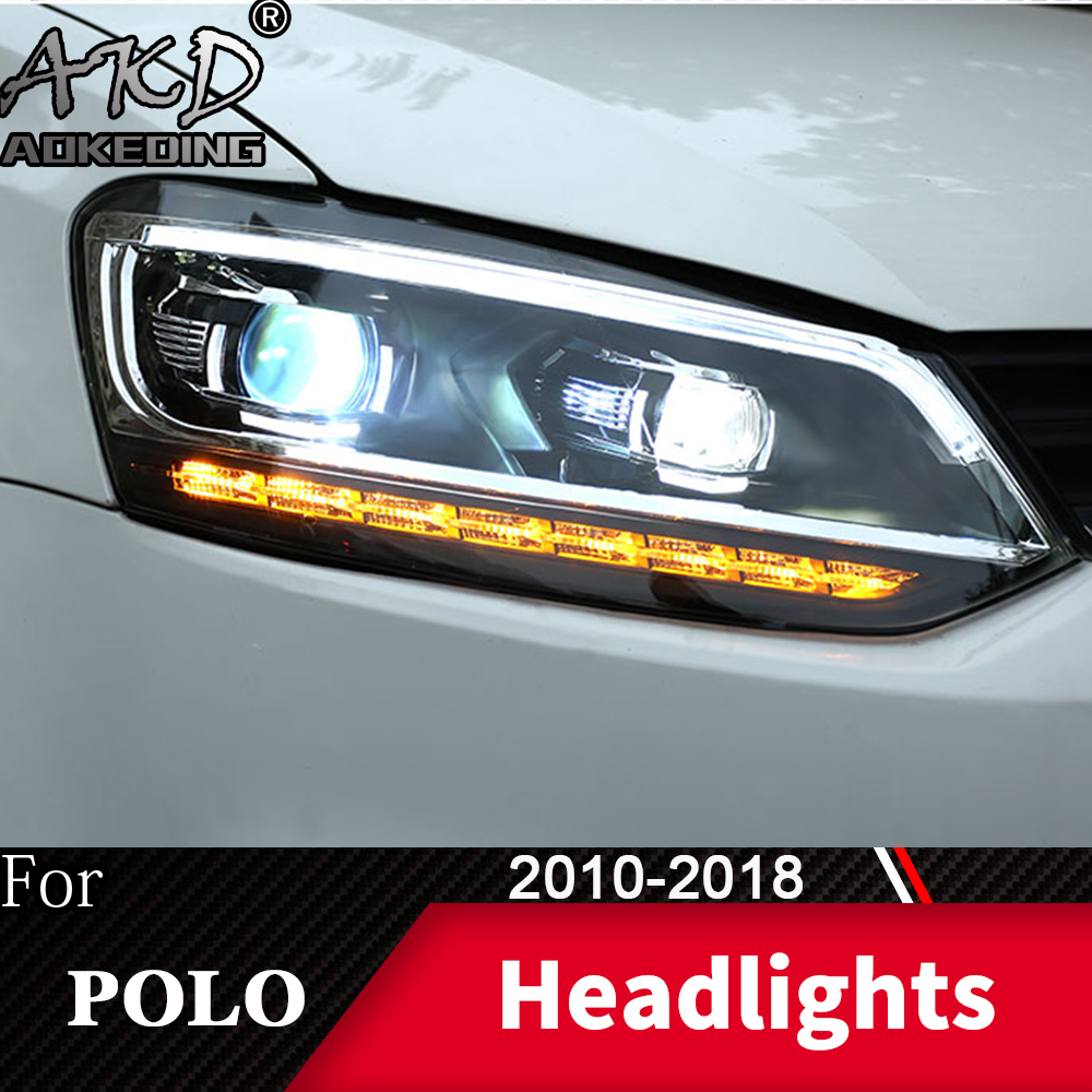Head Lamp For Car VW Volkswagen Polo 2010-2018 Vento Headlight Fog Lights Day Running Light DRL H7 LED Bi Xenon Bulb Accessory