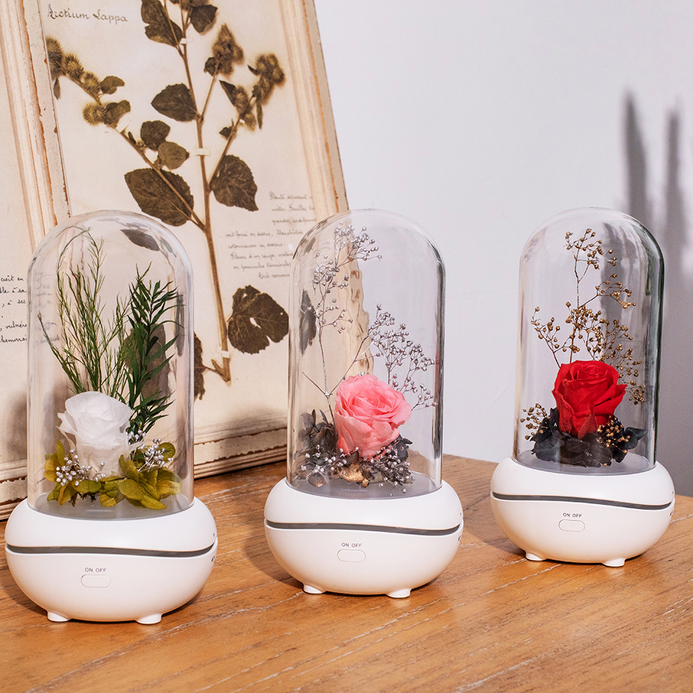 Aroma Diffuser Eternal Rose Flower Ultrasonic Aromatherapy Essential Oil Air Humidifiers 7 Color LED Night Light Car Office Home