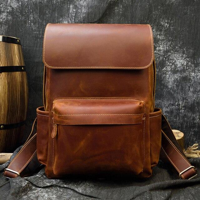 Vintage Crazy horse cuir hommes sac à dos marron véritable cuir de vachette femmes sac à dos daypack 14