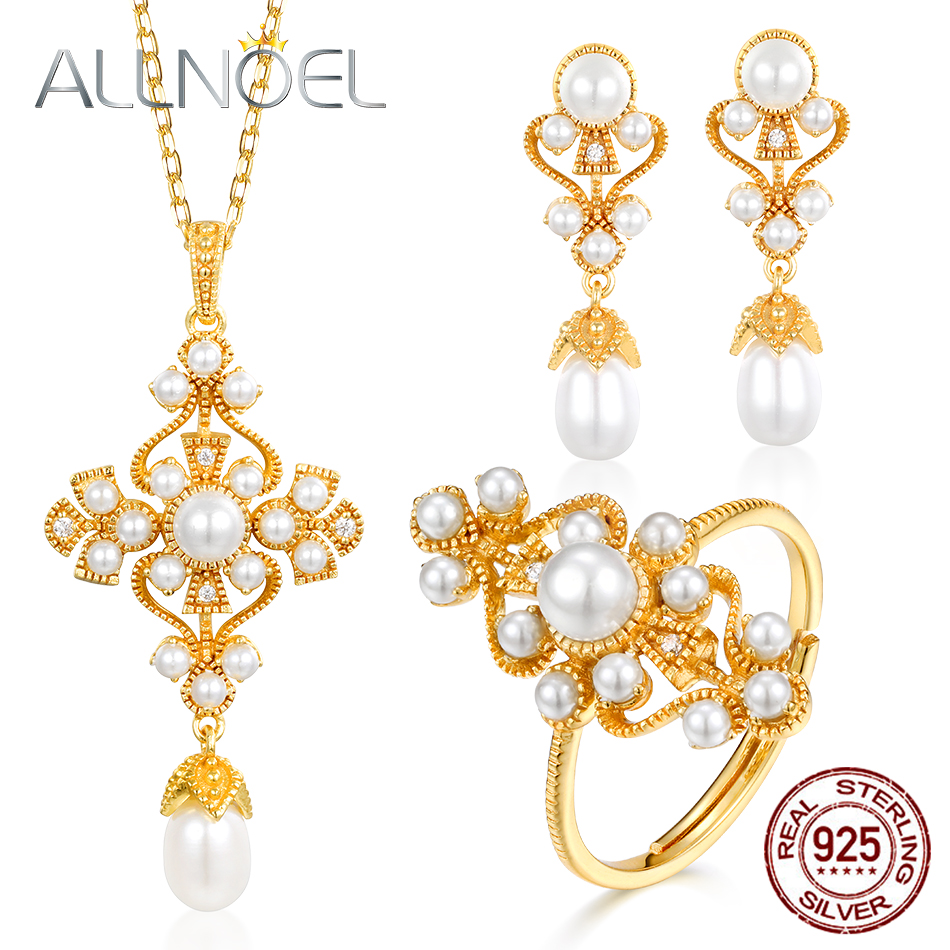 ALLNOEL 925 Sterling Silver For Women Jewelry Sets 5 * 6mm Handmade Pearl White Zircon Gems Marriage Engaged Fine Jewelry Set