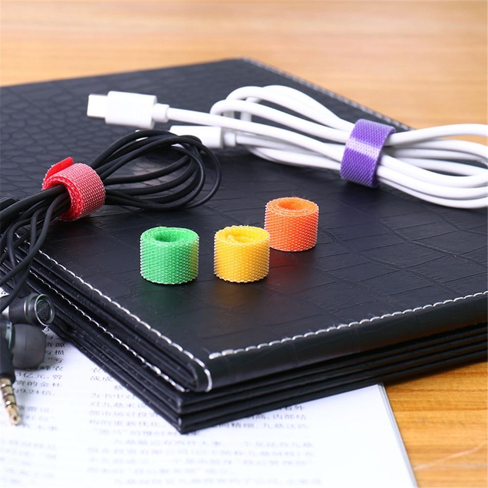 50Pcs/Set Desk Winder Adhesive Loop Hook Nylon Wire Clip Strap Cable Organizer Self Reusable Strap Clip Holder
