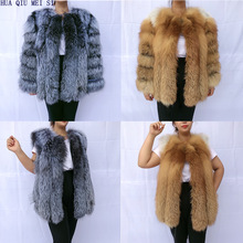 Women's Clothing Coat Silver Fox Natural Fur Red Fox-Fur Vertical-Stripe