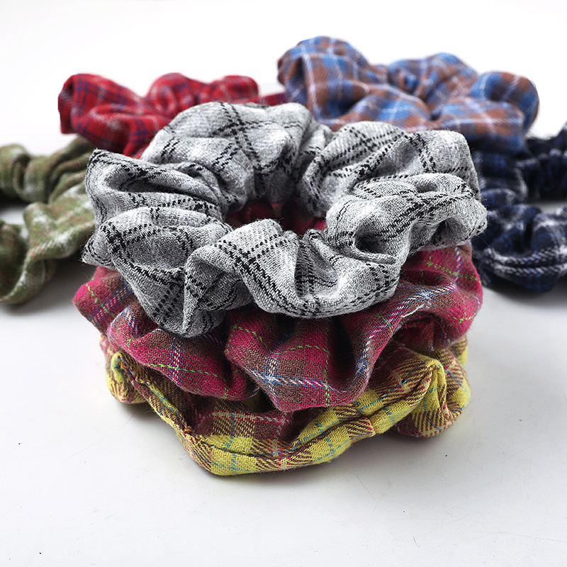 Women Soft Knitted Lattice Scrunchies Elastic Hair Bands Sweet Ponytail Holder Hair Ties For Ladies Girls Hair Accessories 2019