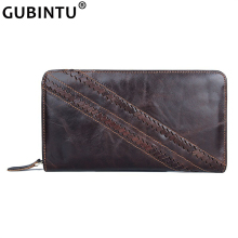 High Quality Knitting Wallet Men's Genuine Leather Business Long Purses Wristlet Zipper Pocket Male Clutch Phone Bag Cow Leather