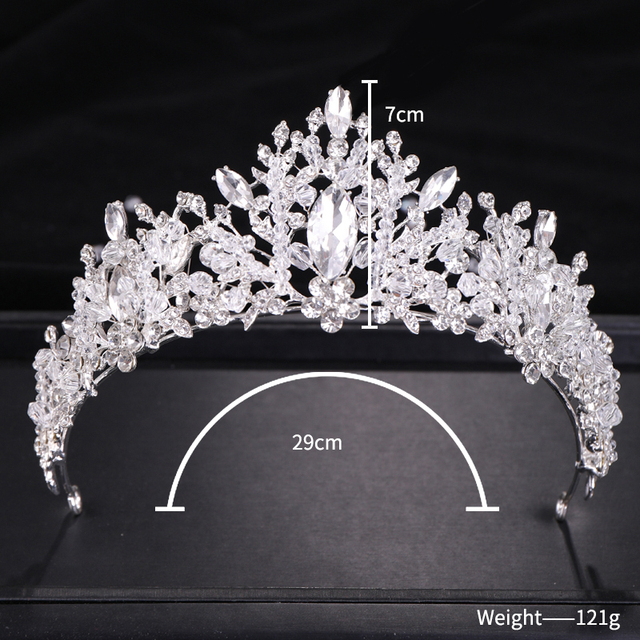 Wedding Crown Crystal Rhinestone Crown Bridal Hair Jewelry Silver Color Tiaras Crowns For Brides Diadem Bridal Hair Accessories