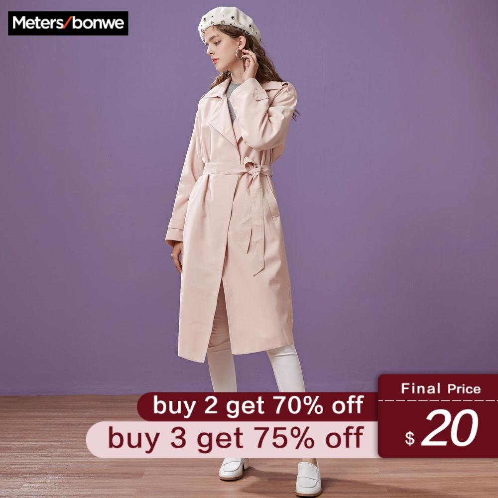 Metersbonwe Brand Women's Trench Coat Long Knee-length Autumn Winter OL Wear New Casual Fashion Coat Office Lady Trench