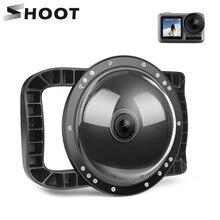 Atirar 6 dual dual dupla handheld porta cúpula à prova dwaterproof água mergulho habitação caso capa com gatilho para dji osmo ação câmera lente acessórios