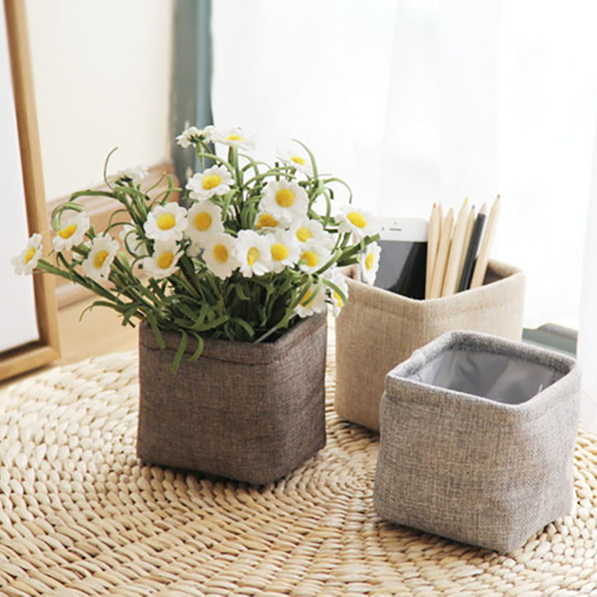Small Desktop Pen Holder Storage Bin Closet Toy Box Flowers Container Organizer Fabric Basket Home Office Table Decorative Box
