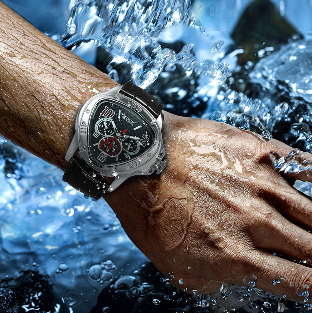 Fashion Luxury Men Automatic Mechanical Wrist Watches Top Brand WINNER Triangle Men's Watches 3 Sub-dials 6 Hands reloj hombre 5