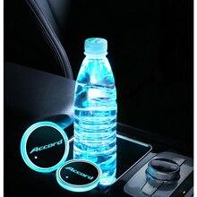 2Pcs LED Cup Holder Mat USB Colorful RGB Car Logo Light For Honda Accord 7 8 9 10 2020 2019 2018 2015 2014 2010 2009 2006 2003
