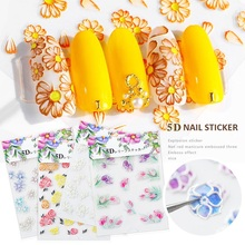 цена на Nail Sticker 3D Flower Embossed Gum Self Adhesive Fantacy Slider Nagels TattooTape Decor Manicure Decals Nails Art Decorations