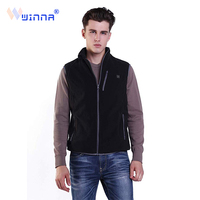 Mens Thermal Fleece Heated Vests Black Slim Fit Breathable Warm Electric Heating Vests with 3 Lever Temperature Machine Washable