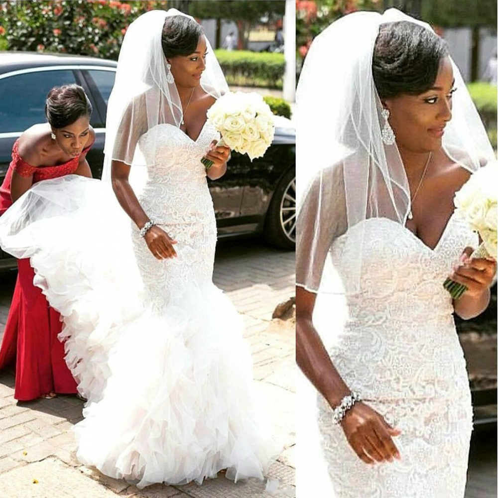 African Mermaid Lace Wedding Dresses 2020 Robe De Mariee Sweetheart Black Girl Women Wedding Gowns Custom Made Bride Dress