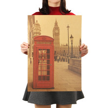London Red Telephone Booth Kraft Paper Vintage Poster For Living Room Bedroom Home Decor Retro Landscape Wall Stickers 51*36 CM(China)